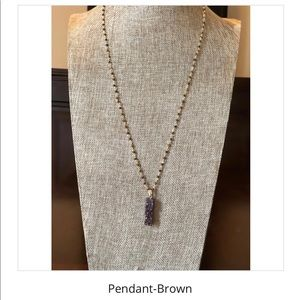 Brown Druzy Pendant Necklace
